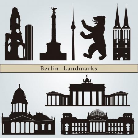 Hitos Berlín y monumentos aislados sobre fondo azul en el archivo vectorial editable