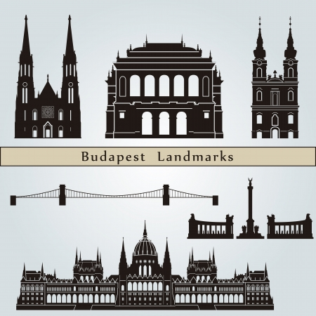 hungary: Budapest landmarks and monuments isolated on blue background in editable vector file