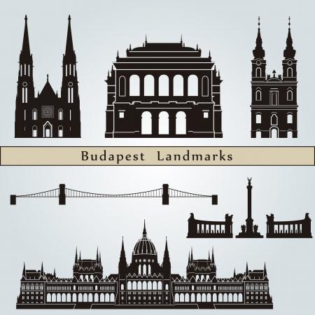 Budapest los monumentos aislados sobre fondo azul en el archivo vectorial editable Ilustración de vector