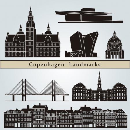 Kopenhagen bezienswaardigheden en monumenten die op blauwe achtergrond in bewerkbare vector-bestand