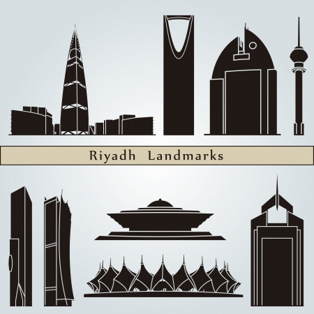 Riyadh landmarks and monuments isolated on blue background in editable vector file Vector