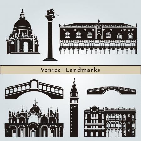 Puntos de referencia de Venecia y monumentos aislados sobre fondo azul en el archivo vectorial editable Ilustración de vector