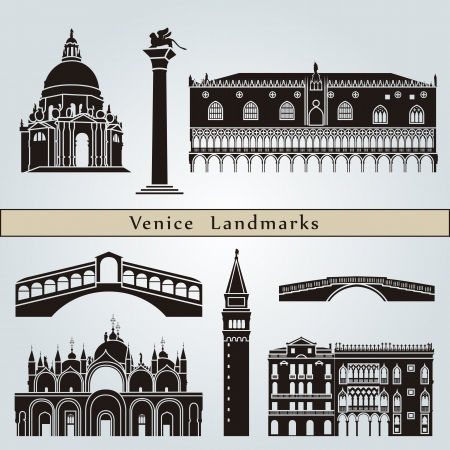Venice landmarks and monuments isolated on blue background in editable vector file Vector