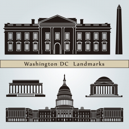 Washington DC landmarks and monuments isolated on blue background in editable vector file Ilustração