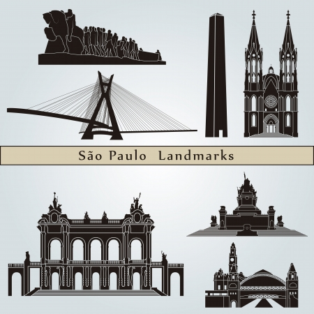 brazil symbol: Sao Paulo landmarks and monuments isolated on blue background in editable vector file Illustration