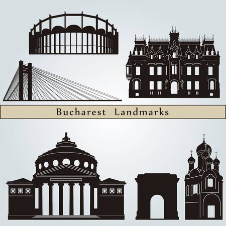 bucharest: Bucharest landmarks and monuments isolated on blue background in editable vector file