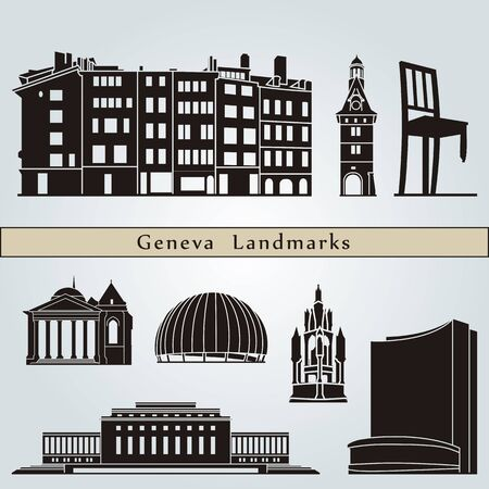 Geneva landmarks and monuments isolated on blue background in editable vector file Vector