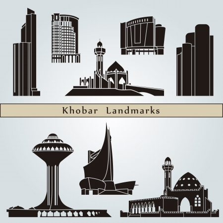 Khobar landmarks and monuments isolated on blue background in editable vector file Vector