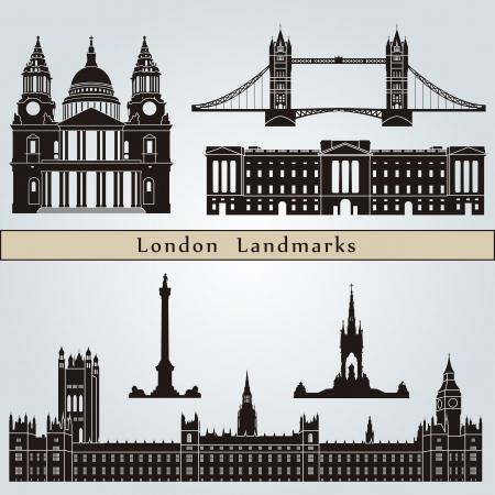 london: Londense bezienswaardigheden en monumenten die op blauwe achtergrond in bewerkbare vector-bestand Stock Illustratie