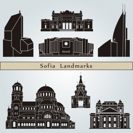 sofia: Sofia landmarks and monuments isolated on blue background in editable vector file Illustration