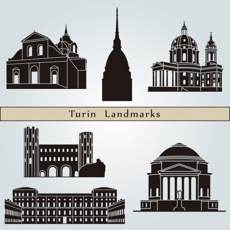Turin landmarks and monuments isolated on blue background in editable vector file Vector