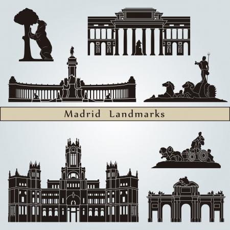 Madrid bezienswaardigheden en monumenten die op blauwe achtergrond