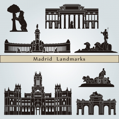 madrid: Madrid landmarks and monuments isolated on blue background