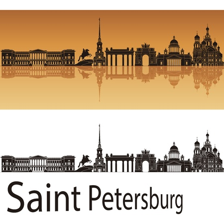 saint petersburg: Saint Petersburg skyline in orange background Illustration