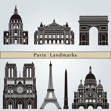 De monumenten van Parijs geïsoleerd op blauwe achtergrond Stock Illustratie