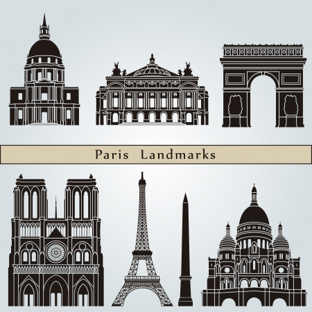 Paris landmarks and monuments isolated on blue background