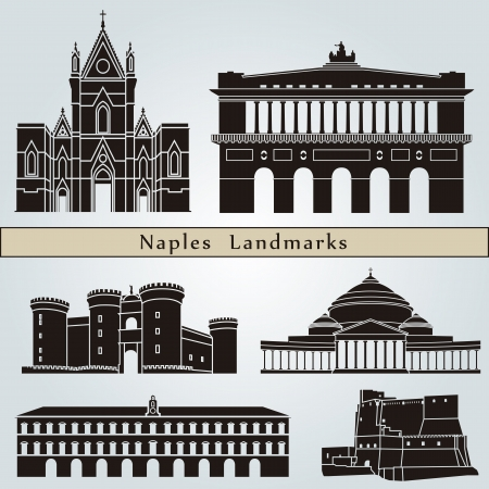 Naples landmarks and monuments isolated on blue background