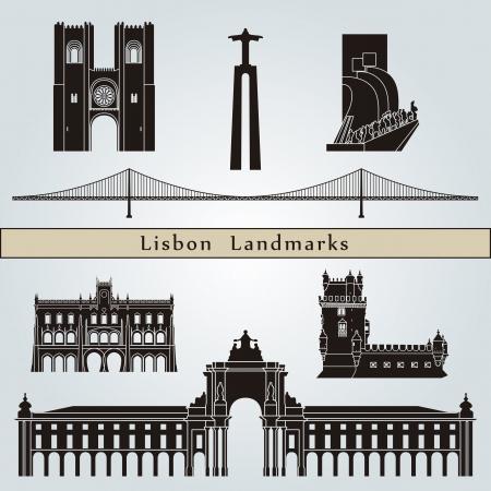 Lisbon landmarks and monuments isolated on blue background