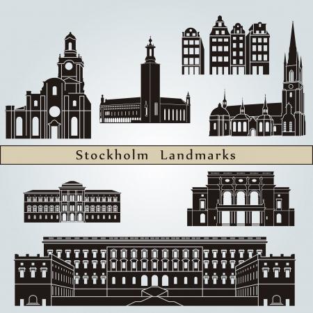 Stockholm landmarks and monuments isolated on blue background