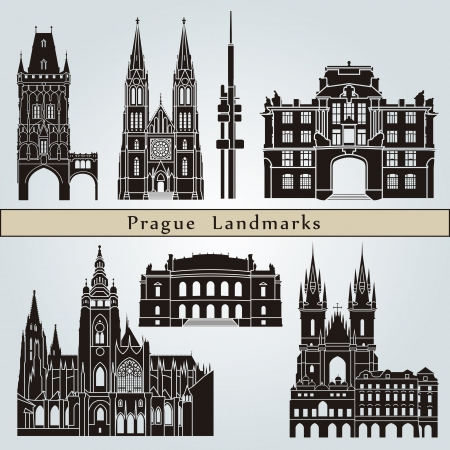 prague: Prague landmarks and monuments isolated on blue background
