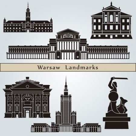 Warsaw landmarks and monuments isolated on blue background