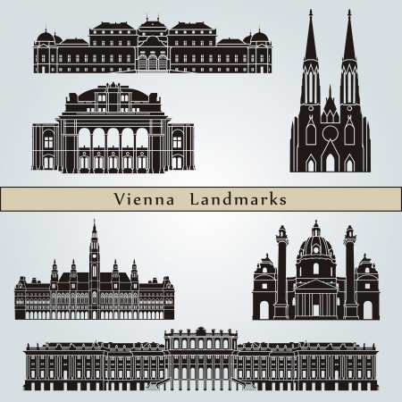 Vienna landmarks and monuments isolated on blue background