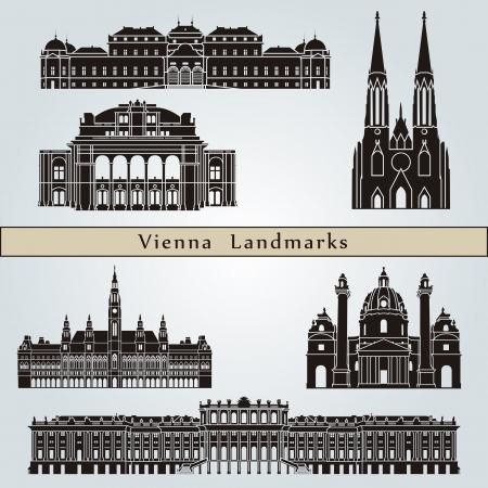 Wenen bezienswaardigheden en monumenten die op blauwe achtergrond Vector Illustratie
