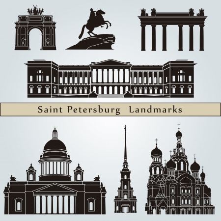 saint petersburg: Saint Petersburg landmarks and monuments isolated on blue background  Illustration