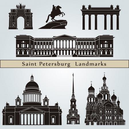 petersburg: Saint Petersburg landmarks and monuments isolated on blue background  Illustration
