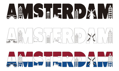 Amsterdam words with skyline including within isolated on white background  Vector