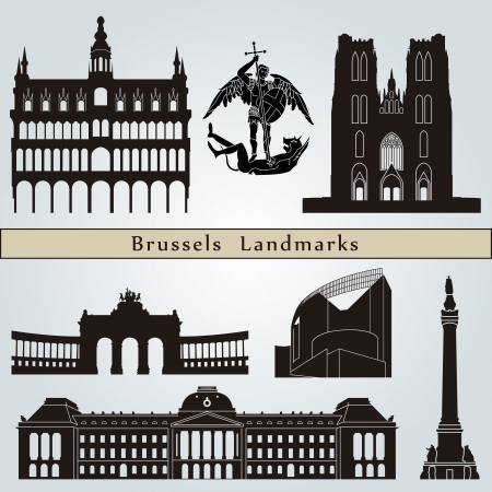 Brussels landmarks and monuments isolated on blue background Иллюстрация