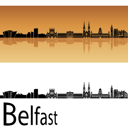 arquitectura: Belfast horizonte de fondo de color naranja Vectores