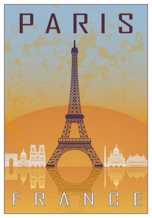 vintage travel: Paris affiche vintage en arrière-plan texturé orange et bleu avec l'horizon en blanc Illustration