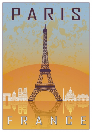 Paris vintage poster in orange and blue textured background with skyline in white