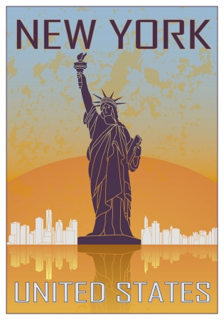 new york skyline: New York vintage poster in orange and blue textured background with skyline in white Illustration