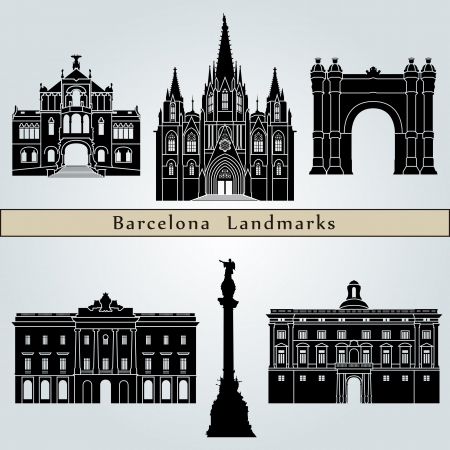 barcelona spain: Barcelona landmarks and monuments isolated on blue background in editable vector file Illustration