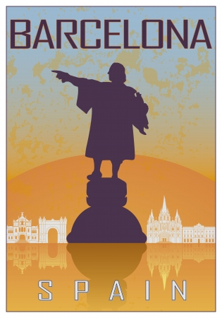 christopher columbus: Barcelona vintage poster in orange and blue textured background with skyiline in white