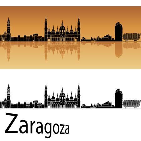 zaragoza: Zaragoza skyline in orange background  Illustration