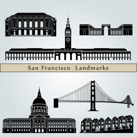 san francisco: San Francisco landmarks and monuments isolated on blue background