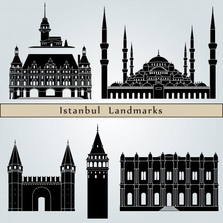 Bezienswaardigheden en monumenten van Istanbul geïsoleerd op een blauwe achtergrond in bewerkbare vector-bestand Stock Illustratie