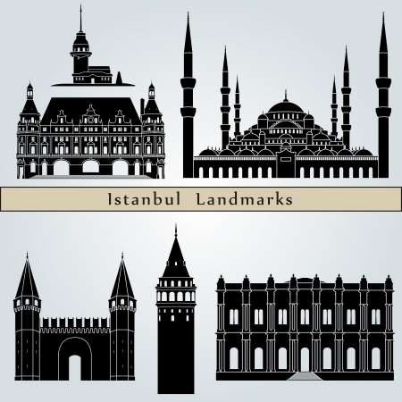 turkey istanbul: Istanbul landmarks and monuments isolated on blue background in editable vector file Illustration