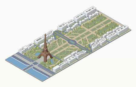 Isometric Eiffel tower and Champ de Mars in Paris in editable vector file Vector