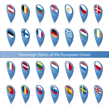 sovereign: Pins with the flags of sovereign states in the European Union isolated on white background in isometric perspective Illustration