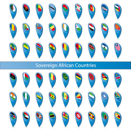 sovereign: Pins with the flags of Sovereign African Countries isolated on white background in isometric perspective