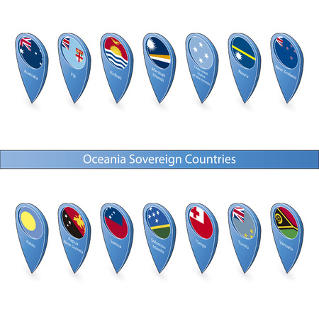 sovereign: Pins with the flags of Oceania Sovereign Countries isolated on white background in isometric perspective