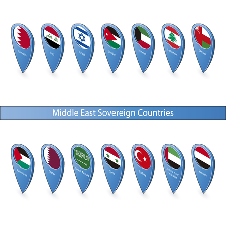 sovereign: Pins with the flags of Middle East Sovereign Countries isolated on white background in isometric perspective