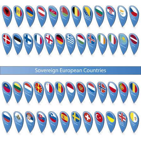 sovereign: Pins with the flags of the Sovereign European Countries isolated on white background in isometric perspective