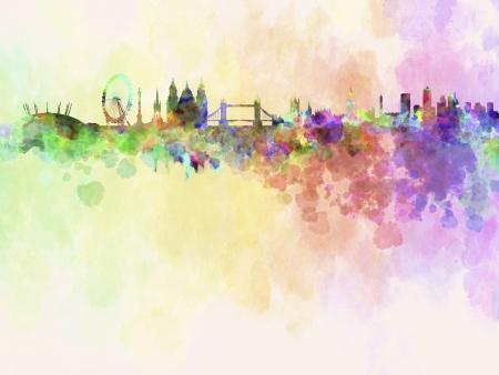 クリッピング パスと水彩背景のロンドンのスカイライン 写真素材