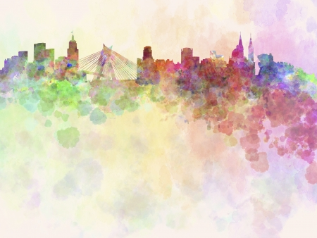 Sao Paulo skyline in watercolor background with clipping path