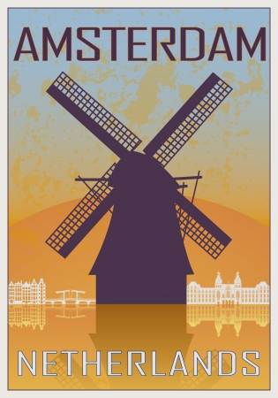 Amsterdam vintage poster in orange and blue textured background with skyline in white